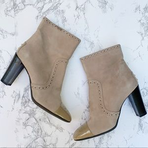 Tods Tan Suede Patent Leather Cap Toe Booties